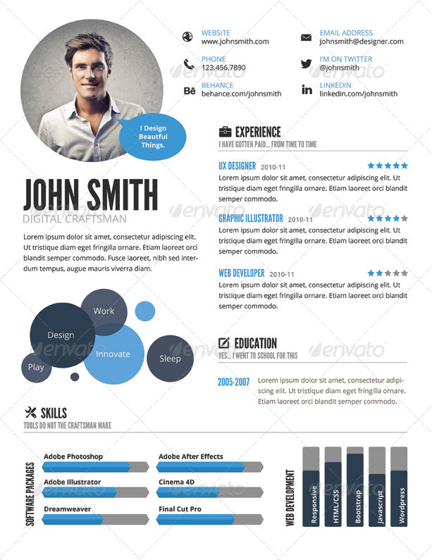 Clean Infographic Resume  Continue