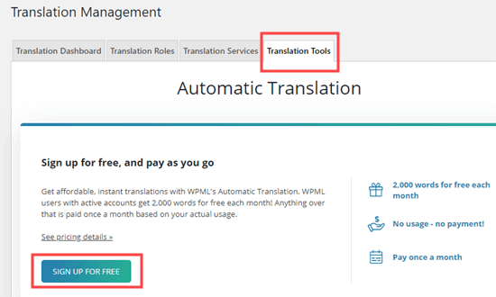 Otomatik çevirilere kaydolma