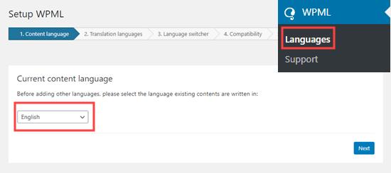 İçerik dilinizi seçme