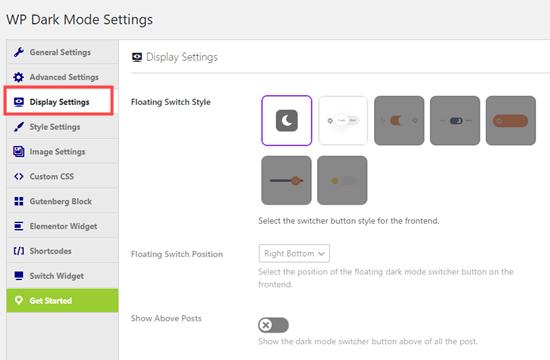 Ekran Ayarlarında gece modu değiştirme düğmesinin seçilmesi