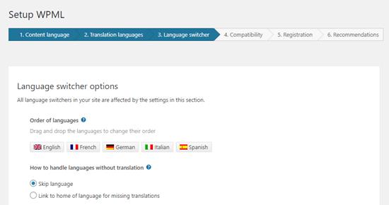 Dil değiştirici için dil sırasını seçme
