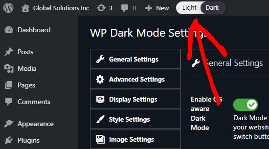 Yönetici arayüzünüz için açık (normal) ve karanlık arasında geçiş yapmak için WordPress yöneticinizdeki geçiş anahtarı