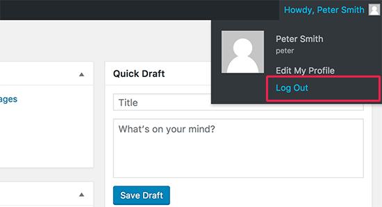 WordPress yönetici çubuğundaki çıkış bağlantısı