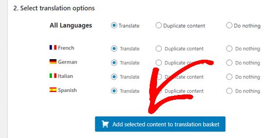 Seçtiğiniz içeriği çeviri sepetinize eklemek için düğmeye tıklamak