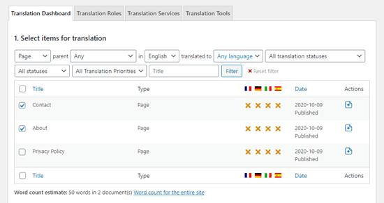 Çeviri kontrol panelindeki sayfaların listesini görüntüleme