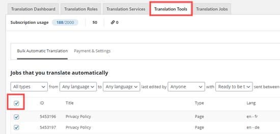 Toplu otomatik çeviri için içeriğinizi seçme