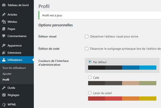 Fransızca gösterilen WordPress yönetici alanı