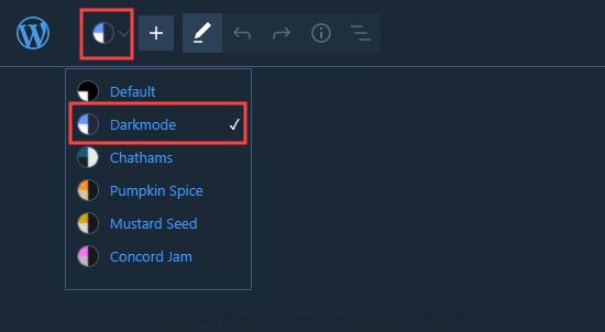 WordPress blok düzenleyicide karanlık modu açma