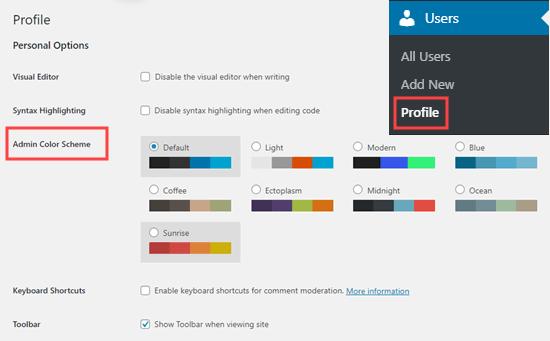 Kullanıcı profili sayfanızda WordPress'te bir yönetici renk şeması seçme