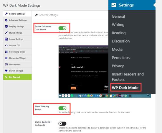 WP Dark Mode eklentisi için Genel Ayarlar sayfası