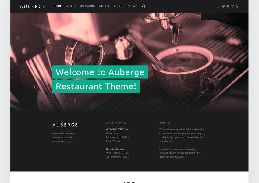 Auberge Ücretsiz WordPress Teması WP Responsive Business Kurumsal
